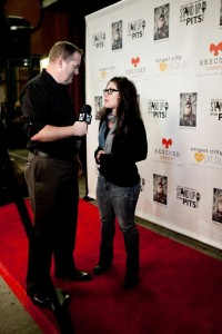 Rebecca being interviewed at Stand Up For Pits Hollywood